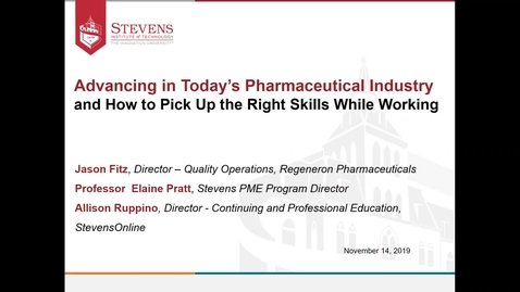 Thumbnail for entry Office of Graduate Admissions: Advancing in Today's Pharmaceutical Industry and How to Pick the Right Skills While Working