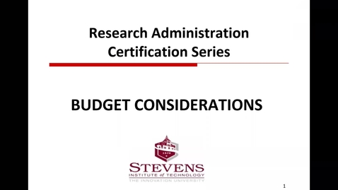 Thumbnail for entry Budget Considerations