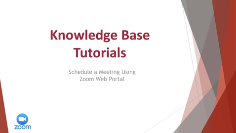 Thumbnail for entry Schedule a Meeting Using Zoom Web Portal