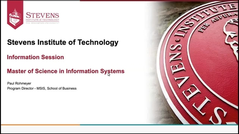 Thumbnail for entry Office of Graduate Admissions: School of Business - Accepted Student Webinar for Information Systems by Dr. Paul Rohmeyer