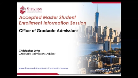Thumbnail for entry Office of Graduate Admissions: School of Engineering & Science - Accepted Student Webinar for Civil, Environmental, and Ocean Engineering Programs by Dr. Ellyn Lester