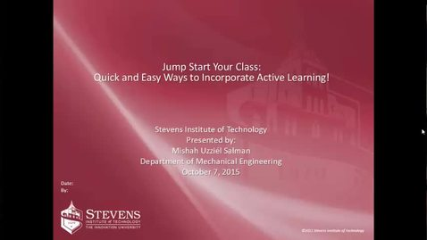 "Thumbnail for entry Dr. Mishah Uzziel Salman Presents ""Jump Start Your Class: Quick and Easy Ways to Incorporate Active Learning!"""