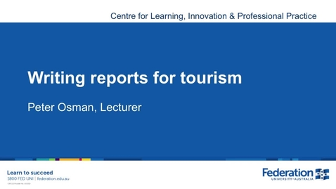 Thumbnail for entry Business Tourism Report Writing Tips