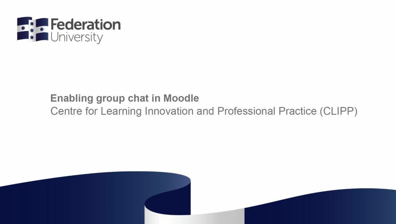 Enabling Group Chat in Moodle