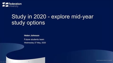 Thumbnail for entry Domestic- Mid-Year Study Options- Your Fed Future Webinar series - Webinar 9