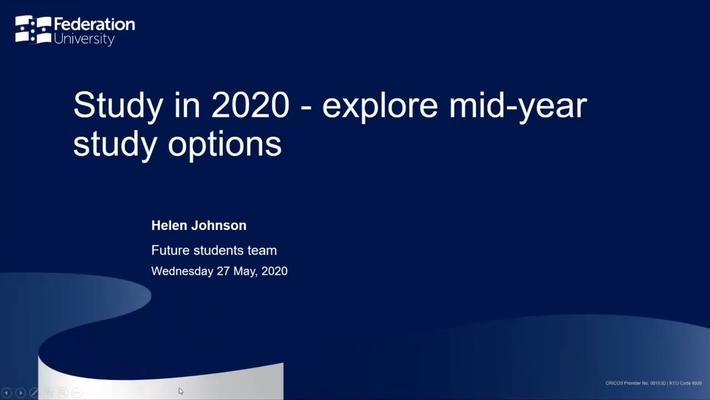 Mid-Year Study Options- Your Fed Future Webinar series - Webinar 9