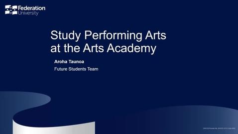 Thumbnail for entry Domestic webinar: Study Performing Arts at the Arts Academy