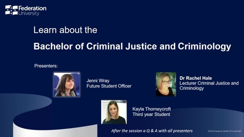 Thumbnail for entry Domestic Webinar - Criminal Justice and Criminology