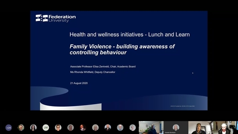 Thumbnail for entry Lunch and learn - Family Violence - building awareness of controlling behaviour