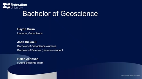 Thumbnail for entry Domestic Webinar: Bachelor of Geoscience