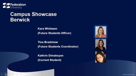 Thumbnail for entry Campus Showcase Berwick - Your Fed Future webinar series - Webinar 6