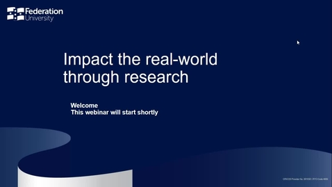 Thumbnail for entry Domestic Webinar - Impact the Real-world through Research