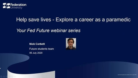 Thumbnail for entry Webinar: Help save lives - Explore a career as a paramedic