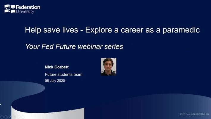 Webinar: Help save lives - Explore a career as a paramedic