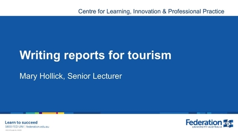 Thumbnail for entry Business Tourism Report Writing Tips 2