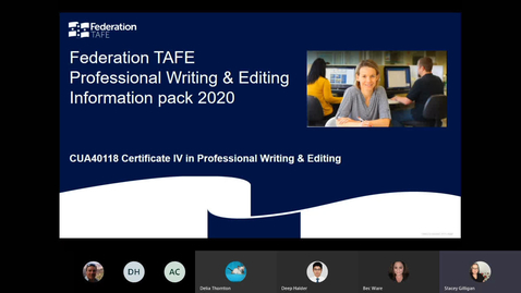 Thumbnail for entry Federation TAFE Professional Writing & Editing program Online Information Session - April 2020