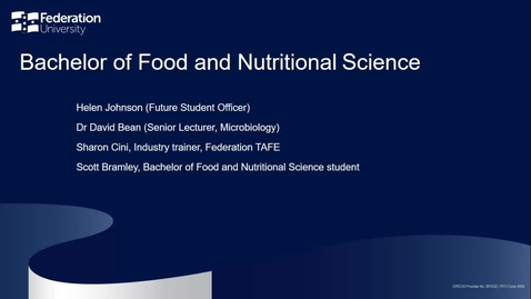 Thumbnail for entry Domestic Webinar - Food and Nutritional Science