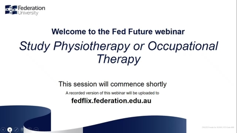 Thumbnail for entry Domestic webinar- Study Physiotherapy or Occupational Therapy