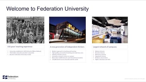 Thumbnail for entry Welcome To Federation University