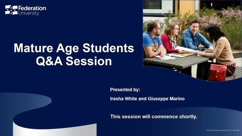 Thumbnail for entry Mature Age Students Questions and Answers Session 2021
