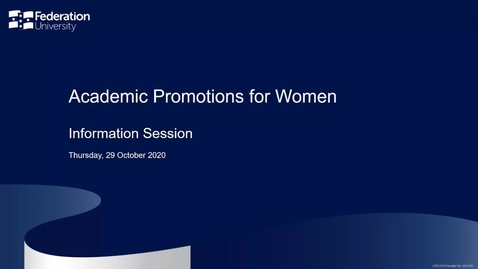Thumbnail for entry Academic promotions for women - information session