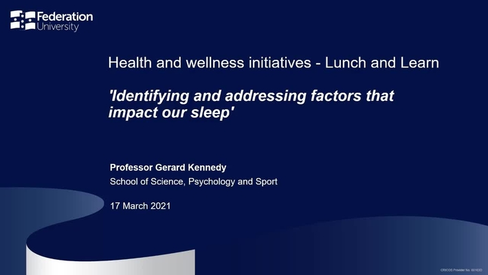 Lunch and learn: Identifying and addressing factors that impact our sleep