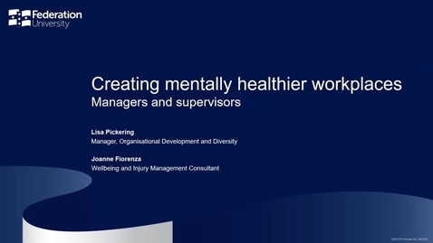 Thumbnail for entry Creating mentally healthier workplaces - Managers and supervisors