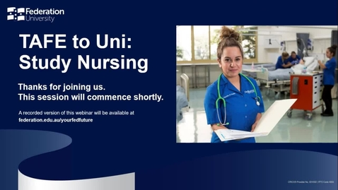 Thumbnail for entry TAFE to Uni- Study Nursing