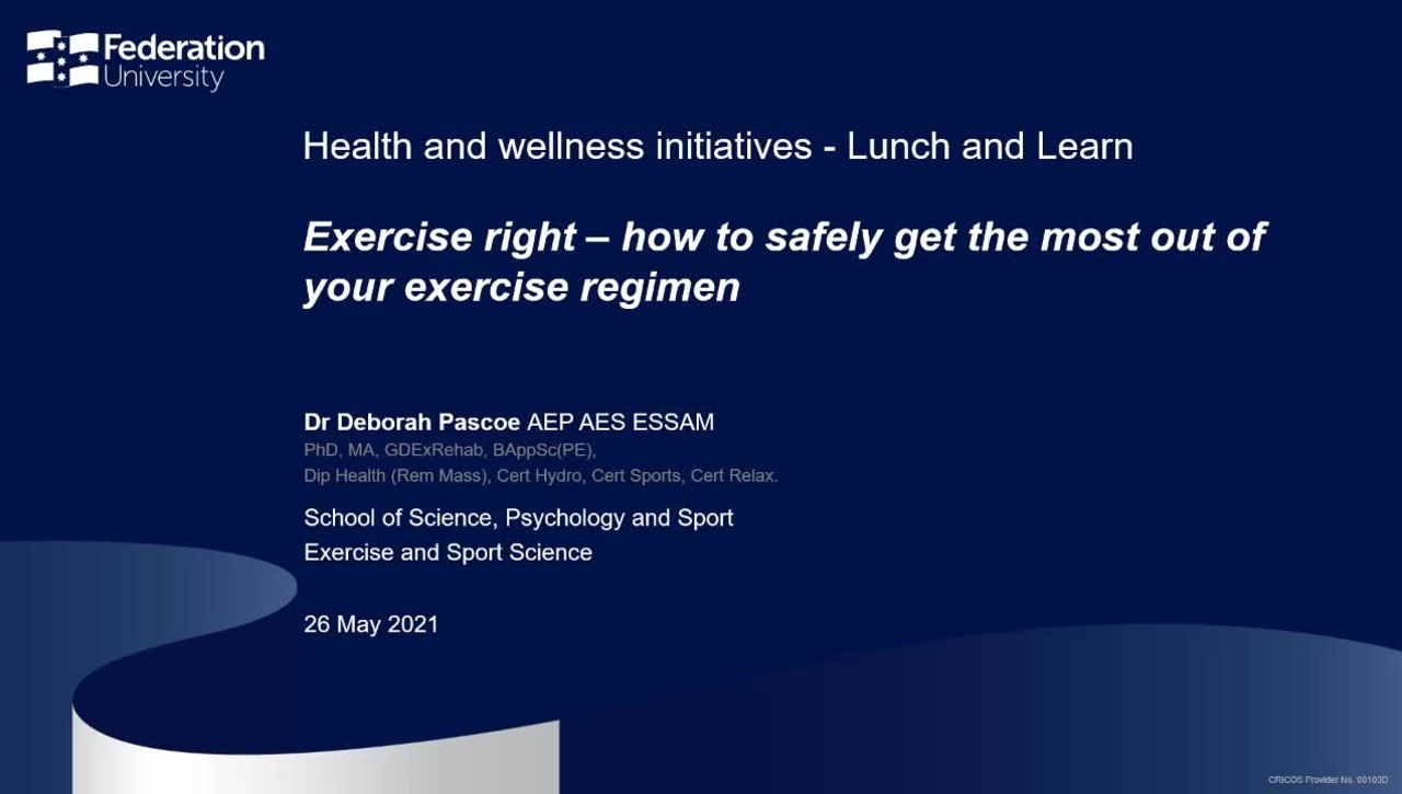 Lunch and learn: Exercise Right – How to safely get the most out of your exercise regimen