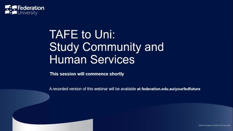 Thumbnail for entry TAFE to Uni - Study Community and Human Services