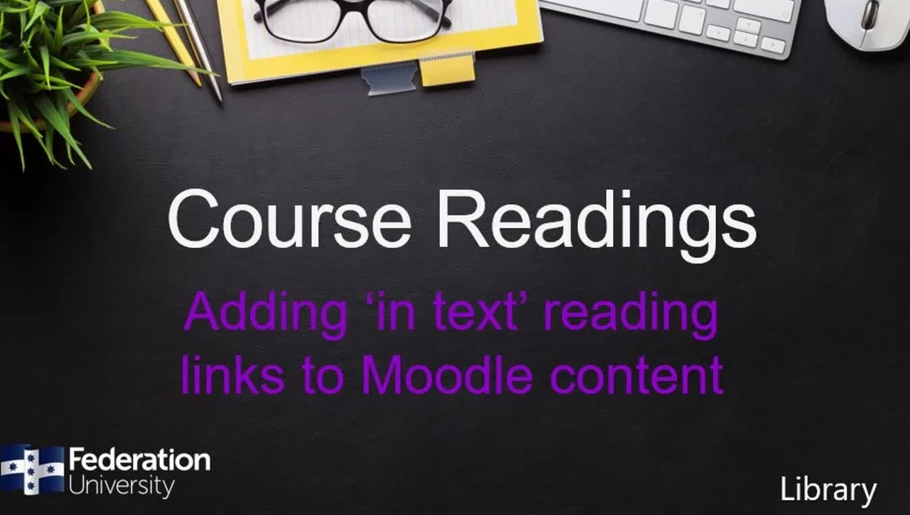 Making links to readings throughout Moodle content and Course Readings
