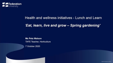 Thumbnail for entry Lunch and learn: Eat learn live and grow - spring gardening
