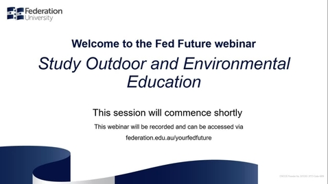 Thumbnail for entry Domestic webinar- Study Outdoor and Environmental Education