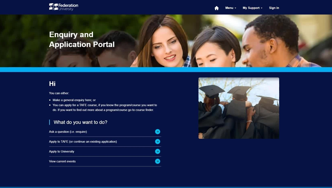 Enquiry and Applications Portal: submit enquiry as a student (or registered user of the portal)