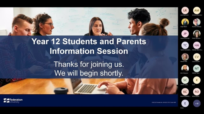 Year 12 Students and Parents Information Session