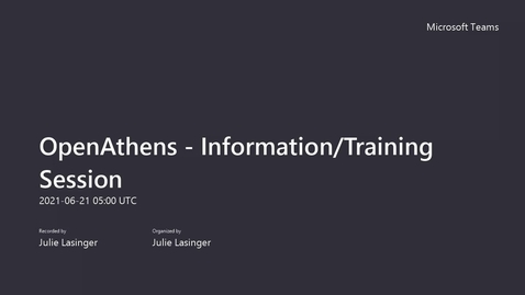 Thumbnail for entry OpenAthens - Information_Training