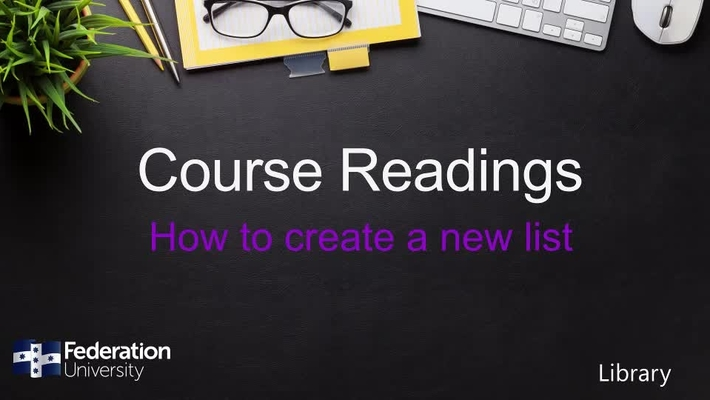 How to create new lists in Course Readings