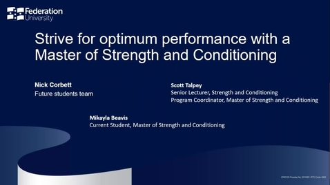 Thumbnail for entry Strive for optimum performance with a Master of Strength and Conditioning