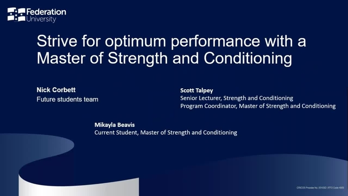 Strive for optimum performance with a Master of Strength and Conditioning