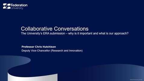 Thumbnail for entry Collaborative conversations – the University's ERA submission and the steps we are taking to prepare