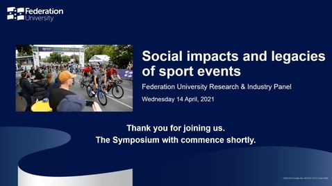 Thumbnail for entry Social impacts and legacies of sport events symposium
