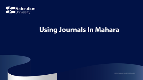 Thumbnail for entry Using Journals In Mahara