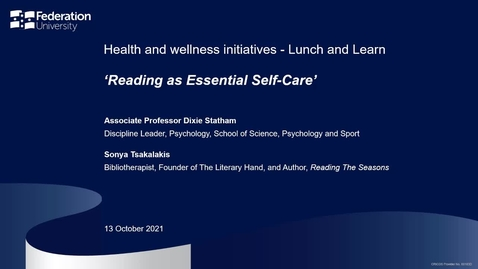 Thumbnail for entry Lunch and learn: Reading as an essential self-care strategy