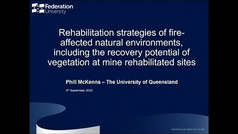 Thumbnail for entry Rehabilitation Strategies of Fire-affected Natural Environments