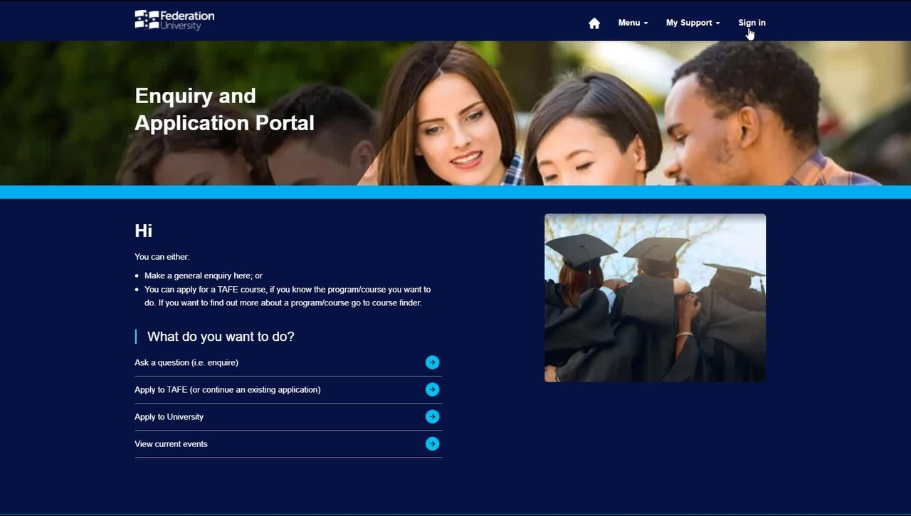 Enquires and Application Portal: Applying to study as a current student