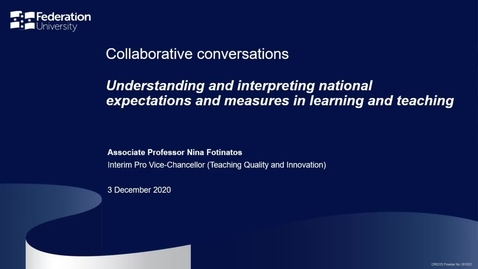 Thumbnail for entry Collaborative conversations - Understanding and interpreting national expectations and measures in learning and teaching