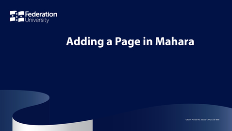 Thumbnail for entry Adding a page in Mahara.mp4