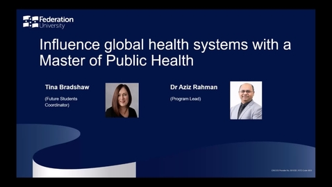 Thumbnail for entry Domestic Webinar: Influence global health systems with a Master of Public Health
