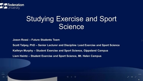 Thumbnail for entry Exercise and Sport Science Information Webinar