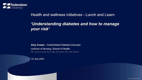 Thumbnail for entry Understanding diabetes and how to assess your own risk
